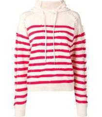 barrie stripe hooded sweater - white
