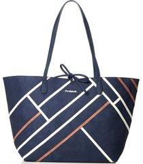 bolsa sacola desigual color block azul-marinho