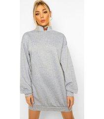 geborduurde sweatshirt jurk met hoge kraag en vlinder, grey marl