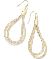 "thalia sodi extra large 2.5"" gold-tone flat chain two-loop drop earrings, created for macy's"