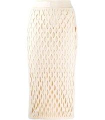 fendi ff motif detail pencil skirt - neutrals
