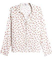 camisa mujer estampado pepas color beige, talla 10