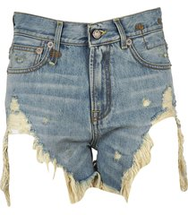 r13 ripped effect denim shorts