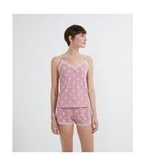 pijama short doll de alcinha em liganete com estampa poá e renda | lov | rosa | p