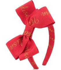 monnalisa logo print bow headband - red