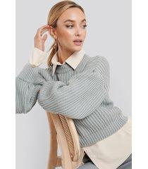 na-kd balloon sleeve round neck sweater - grey