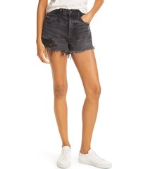 moussy durango distressed denim shorts, size 23 in black 020 at nordstrom