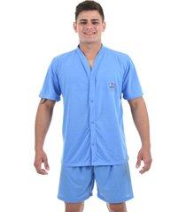 pijama 4 estações masculino adulto com botão aberto short curto verão conforto azul claro