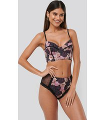 na-kd lingerie all over pink floral highwaist panty - multicolor