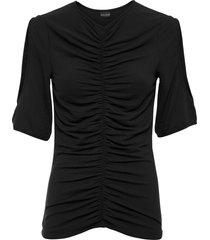 maglia arricciata con poliestere riciclato (nero) - bodyflirt