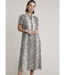vestido chemise feminino midi estampado animal print onça manga curta bege claro