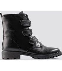 na-kd shoes velcro combat boots - black