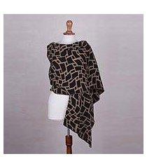 alpaca blend shawl, 'square wave' (peru)