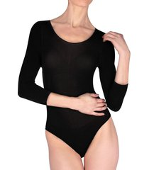 natori women's scoopneck 3/4 sleeve bodysuit - black - size xl