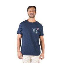 camiseta taco com bolso flamê estampada masculina