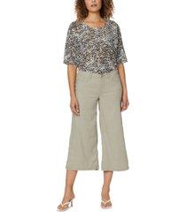 nydj wide-leg crop pants in stretch linen