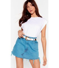 womens vintage raw me close denim mini skirt - teal