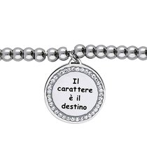 bracciale 'il carattere è il destino' in acciaio e strass per donna