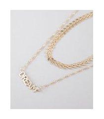 kit de gargantilha choker espinha de peixe + colar feminino dream folheado dourado