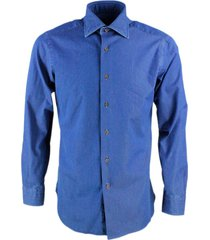 barba napoli slim fit man shirt model black label in denim with brown wooden buttons