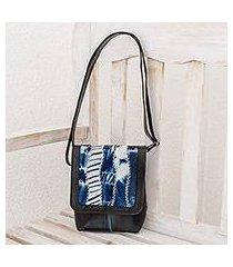 recycled rubber and cotton messenger bag, 'magic dream' (el salvador)