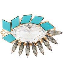 anton heunis mosaic crystal brooch - blue