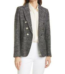 women's helene berman mock double breasted tweed blazer, size large - black