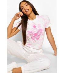 lang tie-dye t-shirt met vlinder eclipseprint, roze