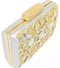 bolsa clutch liage  pedraria pedra brilhante cristal strass metal strass festa dourada prata - kanui