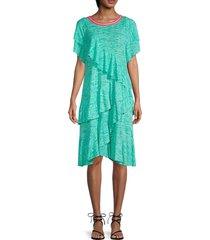 pitusa women's petite volare asymmetrical ruffle dress - mint - size petite (xxs-xs-s)