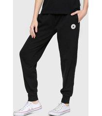 pantalón de buzo converse chuck patch negro - calce slim fit