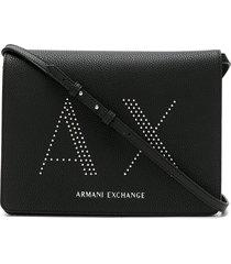 armani exchange logo-studded shoulder bag - black