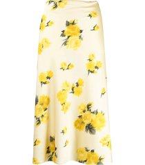 roses printing silk skirt w/buckle