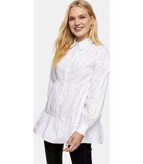 white tiered poplin shirt - white
