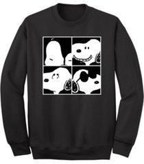 men's snoopy 4 squared faces crew fleece sweatshirt
