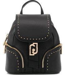 liu jo studded multi-pocket backpack - black
