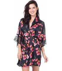 robe cetim homewear estampado -  589.0725 marcyn lingerie pijamas multicolorido
