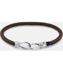 tommy hilfiger men's dark brown double hook bracelet brown -