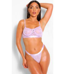 spot mesh and lace bralette and thong set, lilac