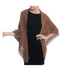 alpaca blend shawl, 'burnt sienna lace' (peru)