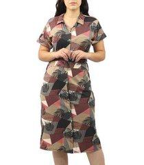 vestido dpontes chemise mid c/ gola botões feminino - feminino