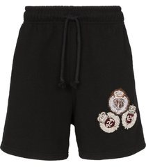 424 crest embroidered track shorts - black