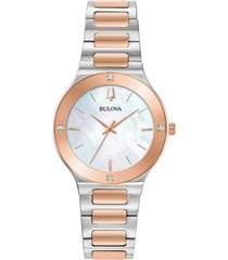bulova women's modern diamond-accent two-tone stainless steel bracelet watch 32mm