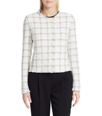 akris punto women's light tweed jacket - cream black - size 10