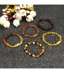 braccialetti d'ambra della boemia fatti a mano retrò braccialetti d'ambra regolabili naturali di bernstein al 100% per le donne
