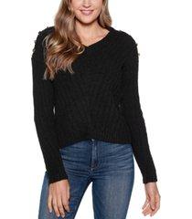 belldini black label v-neck rib knit sweater with embellishment