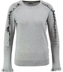 garcia zachte grijze trui met zilverdraad