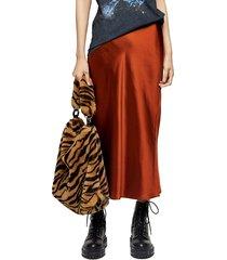 women's topshop slit bias cut satin midi skirt, size 4 us (fits like 0-2) - metallic