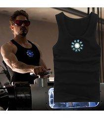 iron man tony stark cotton vest reactor t-shirt sport tights men's luminous