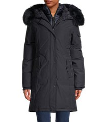 down-filled faux fur & blue fox fur hood parka jacket